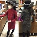 Дети твердые длинным рукавом девушки свитер Вязание Теплая Одежда Водолазка рубашка Ребенок ребенок девушка зимней Моды длинный свитер