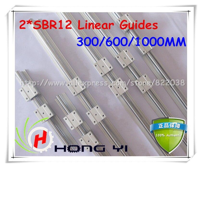 2X SBR12 Linéaire Guides L = 300/600/1000mm Linéaire Rails + 12 pcs SBR12UU droite-bloc de déplacement pour SFU1204 vis à Billes