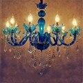 Европейская люстра с синими кристаллами для гостиной  спальни  ресторана  бар  романтичная цветная Подвесная лампа