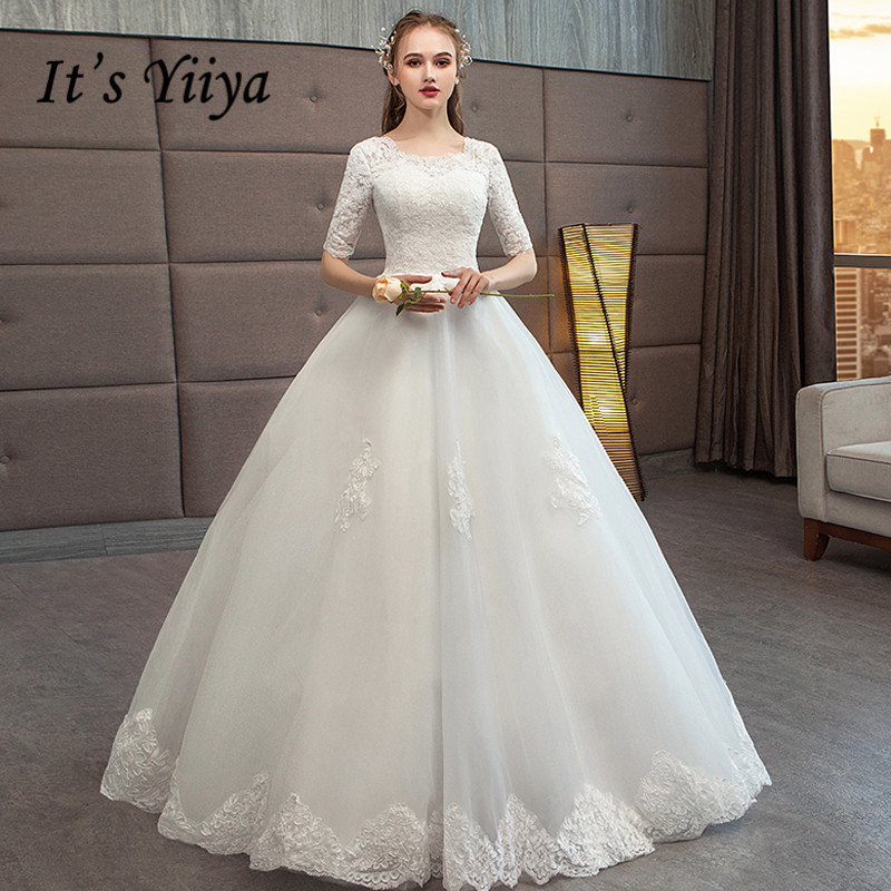 Simple Wedding Dresses For Fall: It's YiiYa Wedding Dresses 2019 Simple Lace O Neck Floor