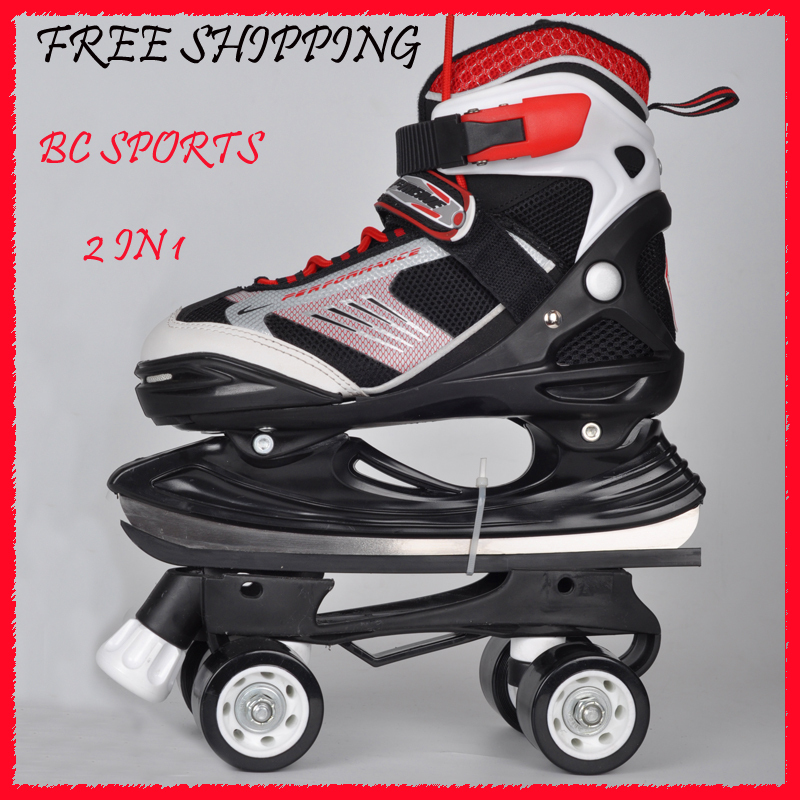 2in1 Adjustable Patins Quad Skates Outside Buckles And Belts Ice