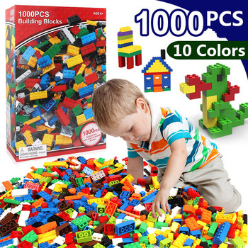 1000Pcs City Stacking Blocks DIY Creative Bricks Friends Figures Brinquedos Educational Toys for Children Christmas Gift