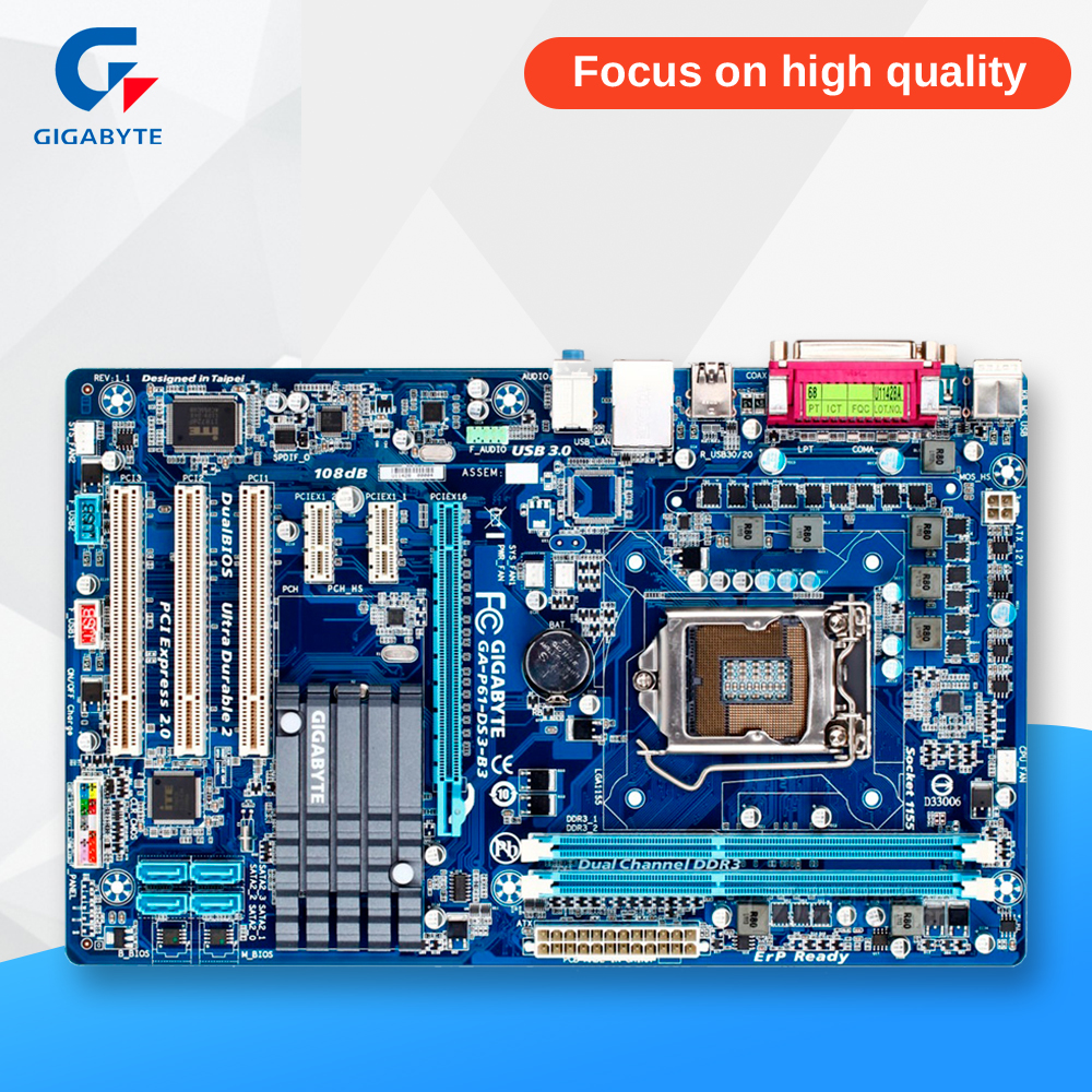 Gigabyte GA-P61-DS3-B3 Original Used Desktop Motherboard P61-DS3-B3 H61 LGA 1155 i3 i5 i7 DDR3 16G ATX ga p61 s3 p61 desktop motherboard large panel p61 s3 a 1155 ddr3 100