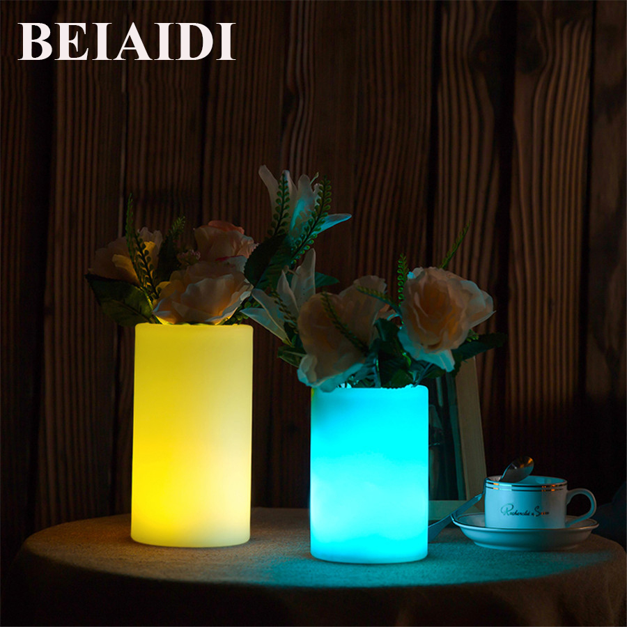 BEIAIDI 16 Color Vase LED Night light With Remote Atmosphere Mood Table Lamp IP68 Illuminated Furniture KTV Resturrant Bar Light led remote control colorful eggs rechargeable bar table lamp ktv night club light dimming color led night light free shipping