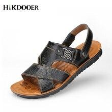 купить Men Sandals Genuine Split Leather Men Beach Sandals Brand Men Casual Shoes Flip Flops Men Slippers Sneakers Summer Shoes дешево