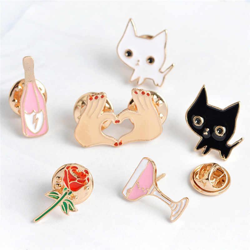 Kartun Fashion Denim Jaket Logam Bros Enamel Pin Bunga Mawar Bentuk Hati Kucing Putih Hitam Kucing Kerah Pin Hewan Bros