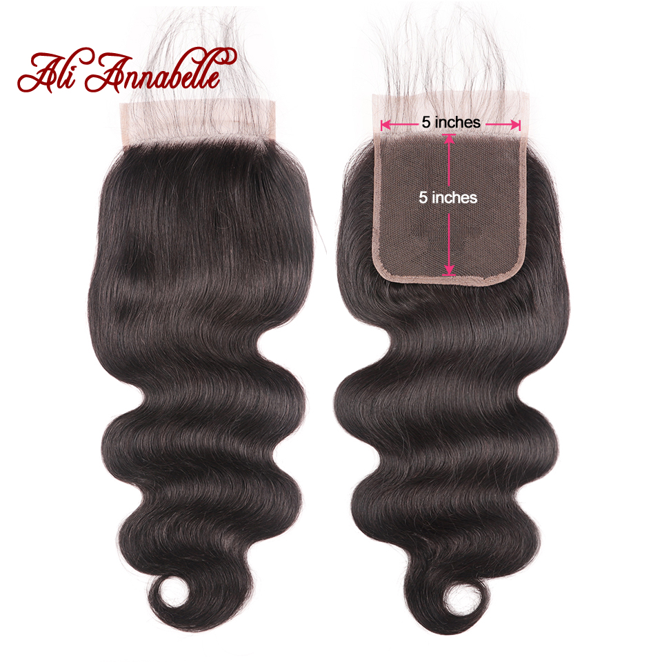 Brazilian Body Wave Human Hair Lace Closure 10-22 Inch 5*5 Swiss Lace Closure Medium Brown Middle/Free Part Remy Lace Closure