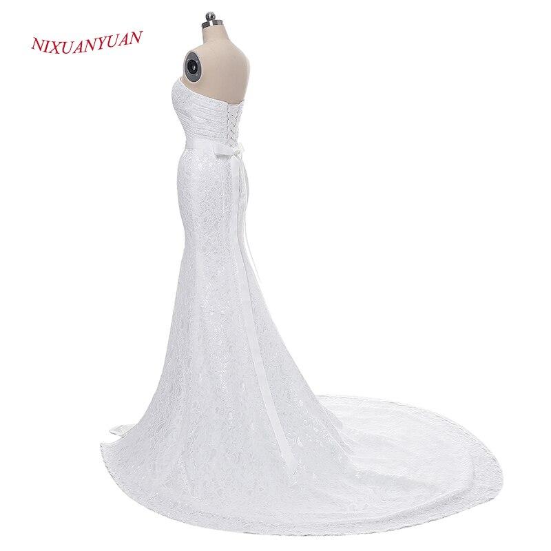 NIXUANYUAN Elegant Ivory White Lace Beach Wedding Dress 2017 Sexy Side Split Bridal Gown Vintage Mermaid Wedding Dress With Belt