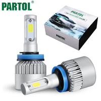 Partol S2 72W 8000LM H11 LED Bulbs Car LED Headlight Work Lights Auto Headlamp Hi Lo