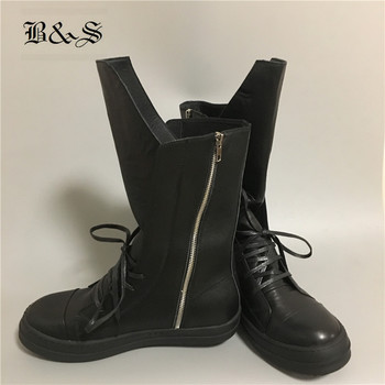 Real Picture Black& Street Solid High Top Quality Rock Classical Cow Leather Sew Line Punk Boots Hip Hop Catwalk street Boots