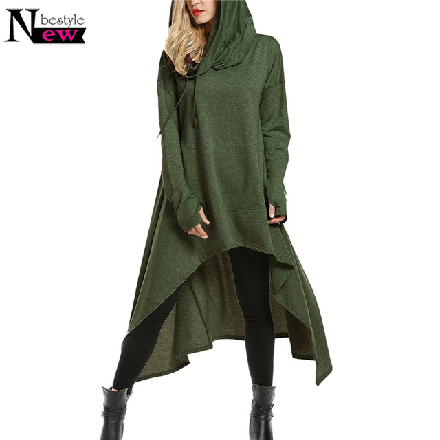 907f9f69d75 Newbestyle Women s Oversized High Low String Hoodies Tunic Hooded  Sweatshirts Loose Long Sleeve Swing Dress With Pocket Pullover