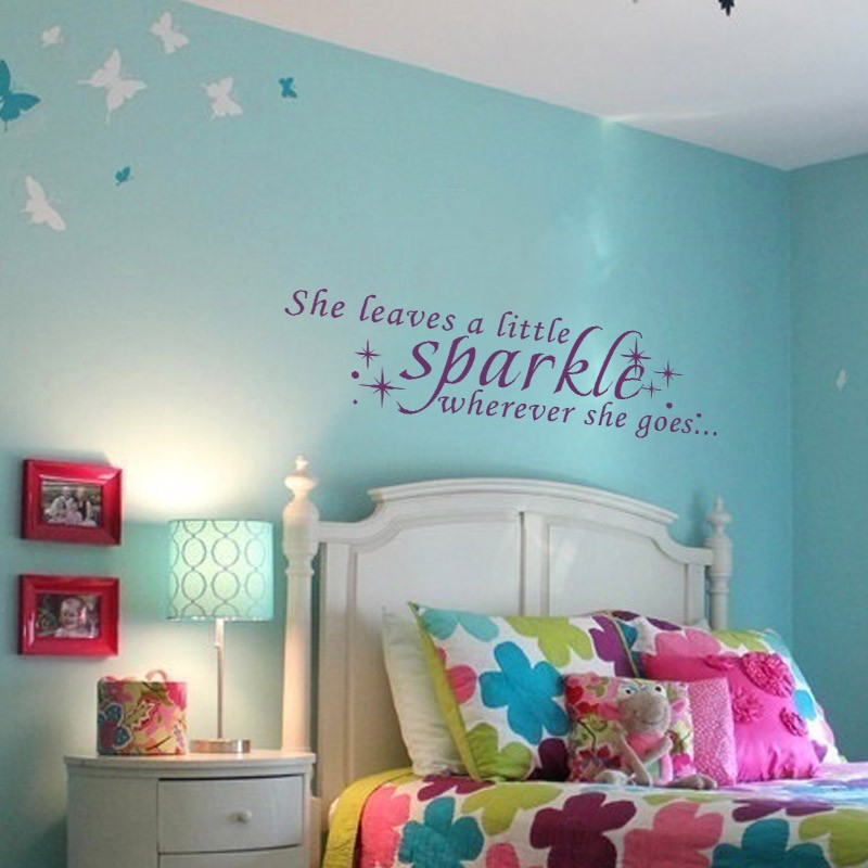 she leaves a sparkle wherever she goes girls room wall decal girl's