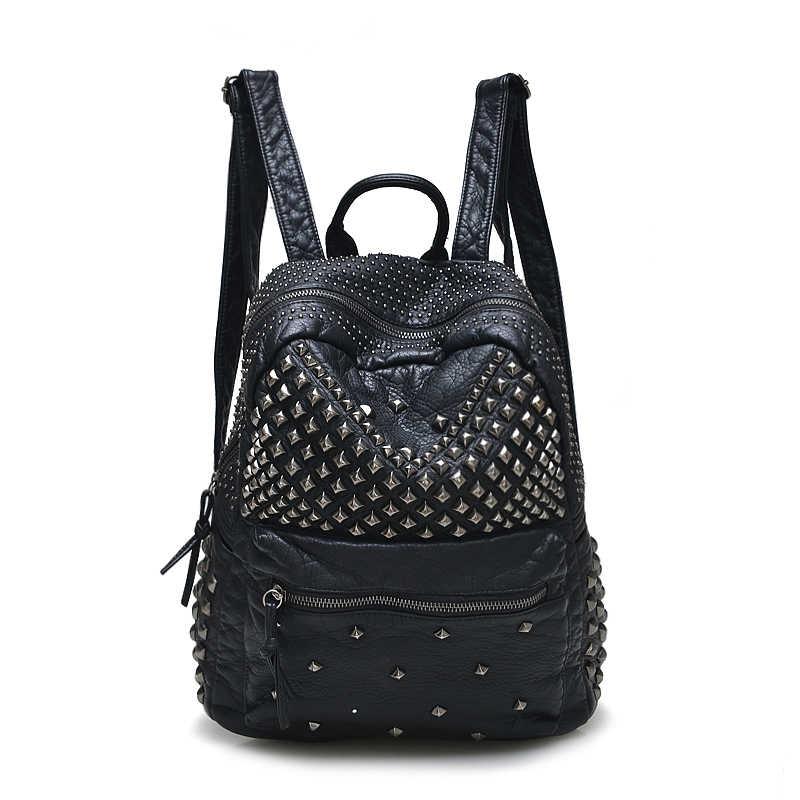 Fashion Women Backpacks Black Washed Leather Backpacks Lady Girls Travel  Women Bags Rivet Backpacks Student School 2bfdfd58e0