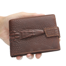 Cowhide Leathe Men Wallets Brand Causal Alligator Pattern Design Card