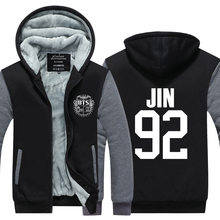 BTS Bangtan Boys hoodies males Jungkook jhope jin jimin v suga jacket prime quality Thicken Zipper hooded Sweatshirt Plus dimension
