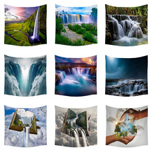 Boniu Waterfall Tapestry Scenic Print Wall Hanging Background Decoration Wall Tapestries Farmhouse Decor Travel Camping Blanket