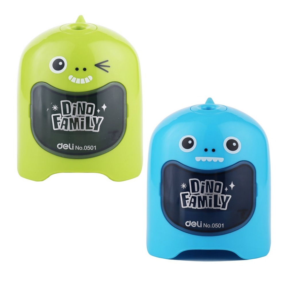 Deli 0501 Electrical Automatic Pencil Sharpeners Students Office Cute Dinosaur-shaped Pencil Cutting Machine Stationery Gift 2017 1 pcs deli 0616b kids cute cosmetic hand manul house pencil sharpeners mechanical machine 1pc brand stationery supplies