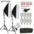 8 PCS 25 W E27 Lâmpada LED Caixa de Luz Estúdio de Fotografia kits Kit Equipamento Fotográfico Conjunto de iluminação 2 PCS 2 m Suporte 2 PCS 50x70 CM Softbox