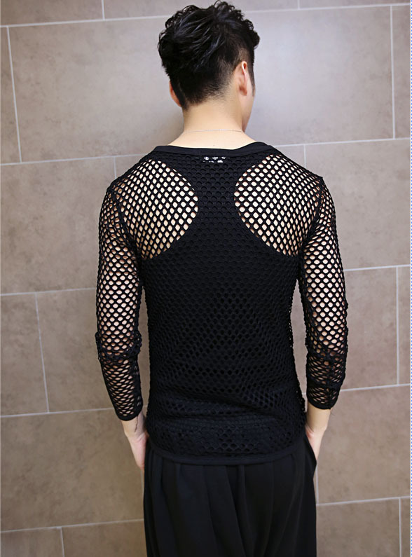 9928b75c2ca79 New Men s Summer Gothic Black Sexy Fishnet Slim Fit Long Sleeve T Shirt Top  M L XL-in T-Shirts from Men s Clothing on Aliexpress.com
