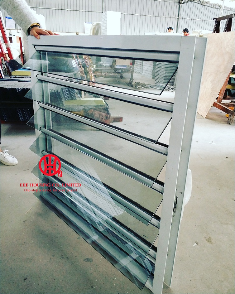 Jalousie Window For Sale, Hurricane-proof Glass Louvre Windows, Aluminum Vent Louvers / Shutter