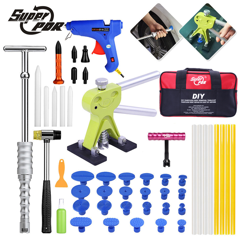 Super pdr dent repair tools kit Paintless dent removal tool set dent lifter glue puller glue gun tools bag 5 second fix liquid plastic welding kit uv light repair tool glue kit