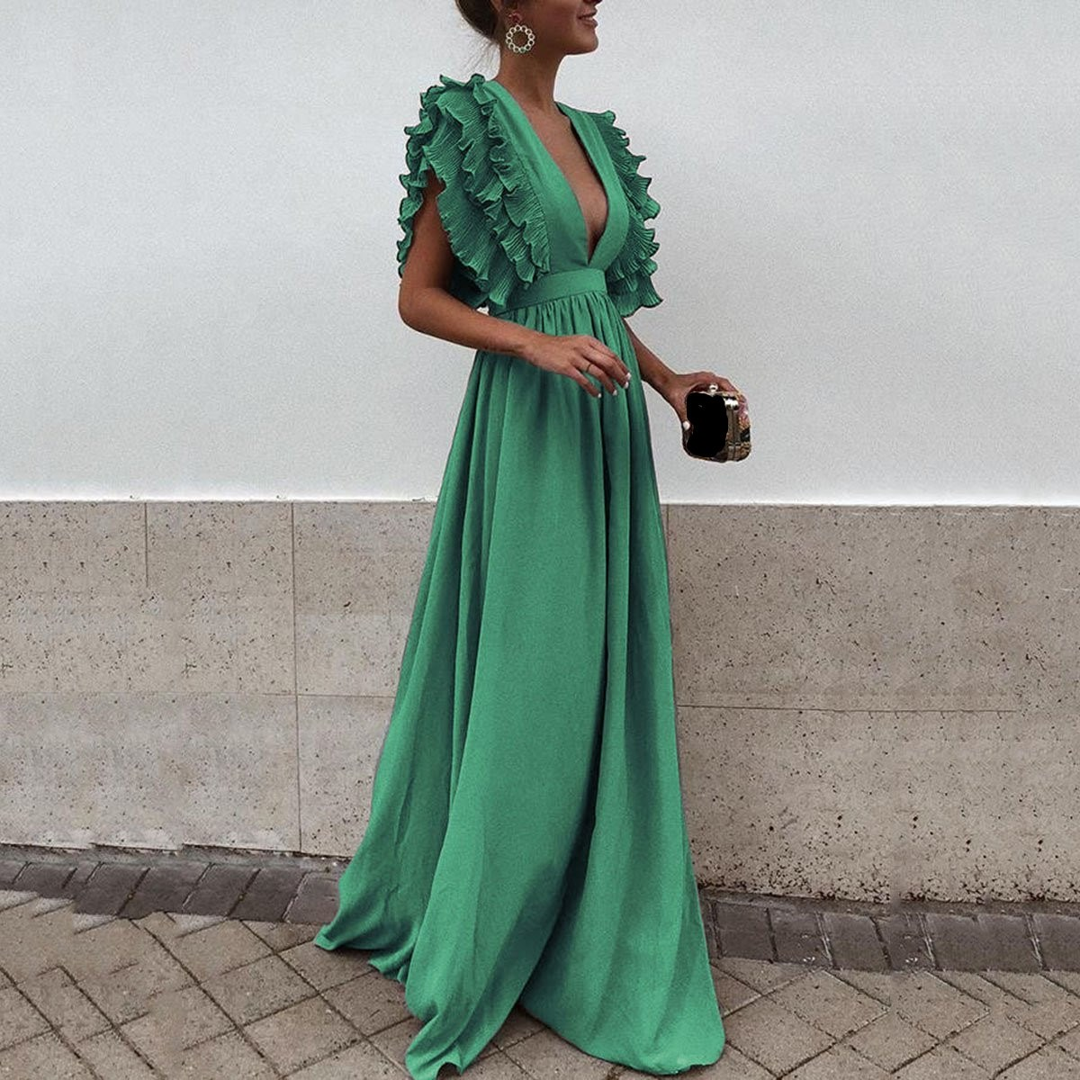 2018 New Fashion Women Deep V-Neck Solid Dress Sexy Backless Maxi Dress Ruffles Sleeves Party Beach Long Dress
