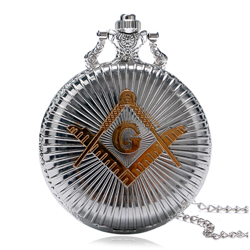 Silver&Golden Masonic Freemason Quartz Necklace Pendant Pocket Watch Jewerly Gifts Luxury Vintage Steampunk Unisex Gift