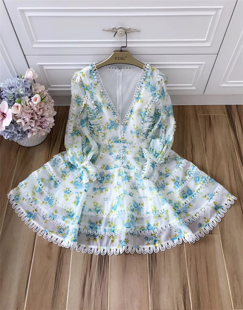Women's High Quality Puff Sleeve Sexy V-neck Floral Printed Embroidery Button Resort Dress