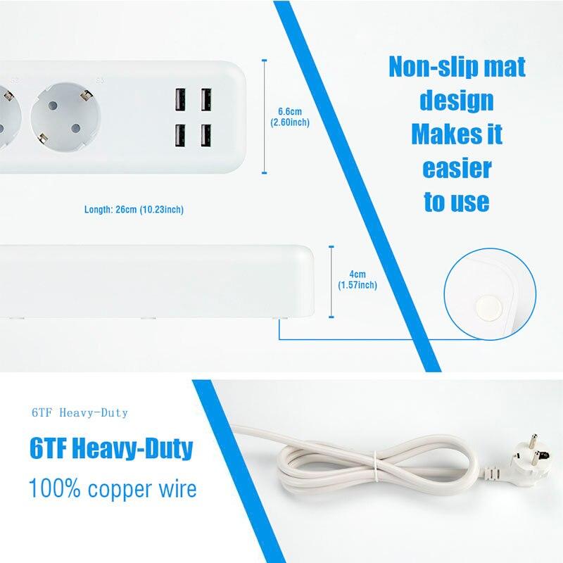 Wi Fi розетка USB power Strip smart EU штекер перегрузки переключатель стабилизатор напряжения 3 розетки 4 порта USB зарядное устройство м 2 м 15A Wifi штекер - 4