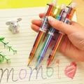 1 PCS Multifunções Plástico Push Tipo Seis-Cor Caneta Esferográfica Colorido Ferramentas de Desenho Para Crianças Estudo Canetas de Desenho