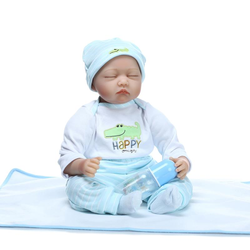 55cm Soft Body Silicone Reborn Baby Dolls Toy For Girl Exquisite Sleeping Newborn Boy Babies Collectable Doll Birthday Gifts silicone reborn baby dolls toy lifelike exquisite soft body newborn boys babies doll best birthday gift present collectable doll