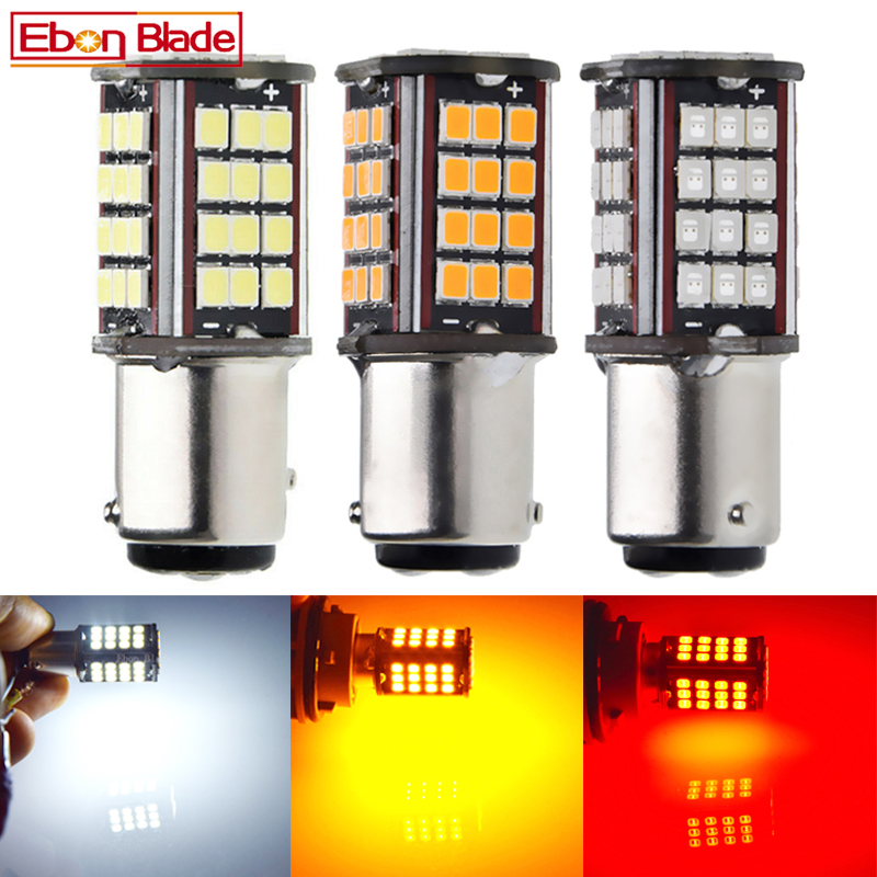 2 x 1157 BAY15D P21/5W led car light white red yellow amber 56 smd auto motorcycle brake stop turn signal lights bulb lamp 6V DC-in Signal Lamp from Automobiles & Motorcycles