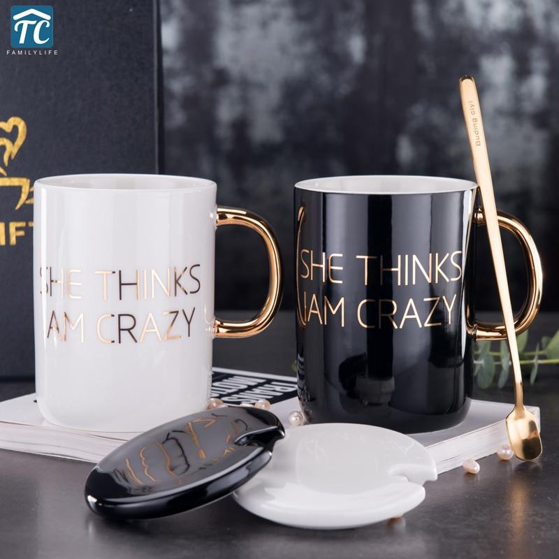400ml Ceramic Coffee Mug Tea Cup With Gold Painted ...
