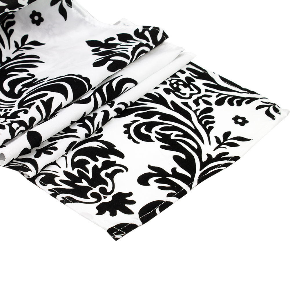 10pcs Black And White Flocking Damasks Modern Table Runner For Wedding  Hotel Party Banquet Tables Decor Table Cloth Home Textile