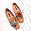 Luxury Embroidried Flats Chinese Style Embroidery Square Toe Fat Single Shoes Spring Comfortable Soft Shoes Pedal Flat Loafers