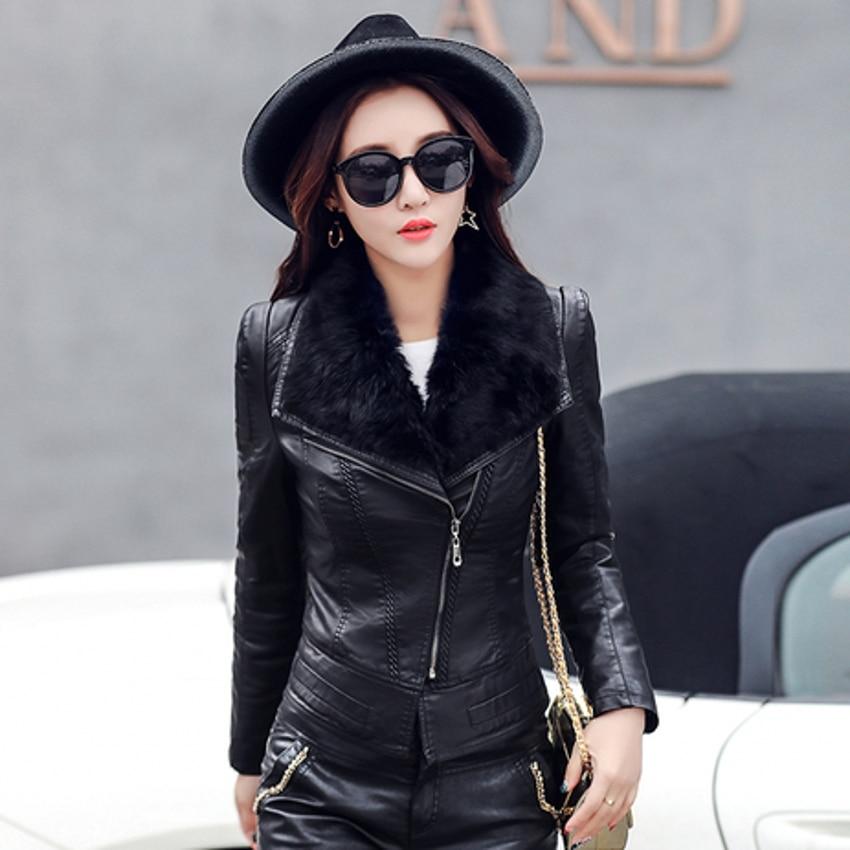 Leather Coat Jacket Women Winter Clothes PU Fur Arount Collar Zipper Slim Short Jacket Overcoat Outwear C91301
