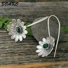 Vintage Antique Silver Dangle Earrings for Women Ethnic Style Flower Shaped Green Stone Drop Earring 925 Sterling Silver Earring недорого