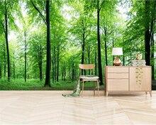 Beibehang 3d wallpaper Modern fresh green forest background wall natural landscape photo for living room