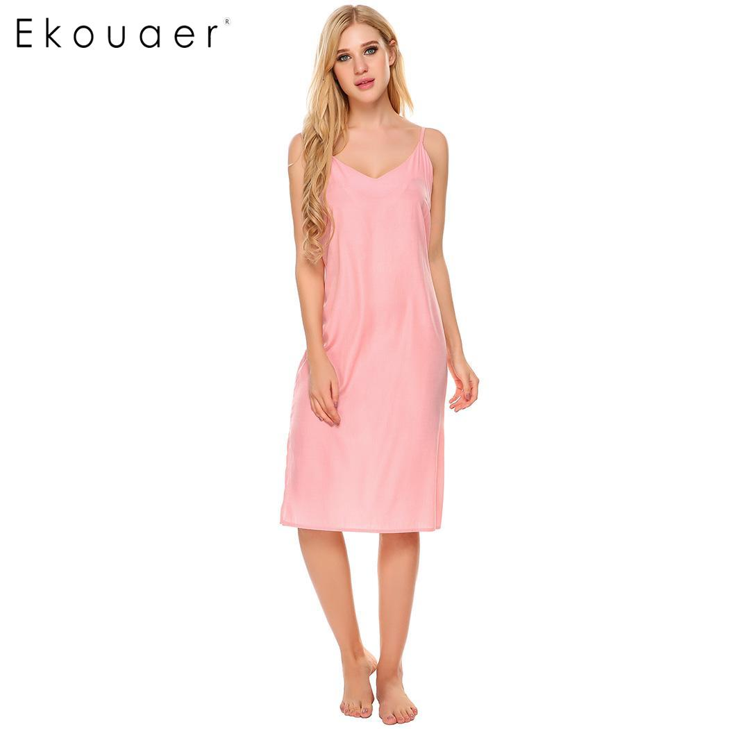 Ekouaer Sexy Lingerie Nightgown Sleepshirts Women Solid V-Neck Spaghetti Strap Split Hem Ladies Sleepwear Night Dress Homewear