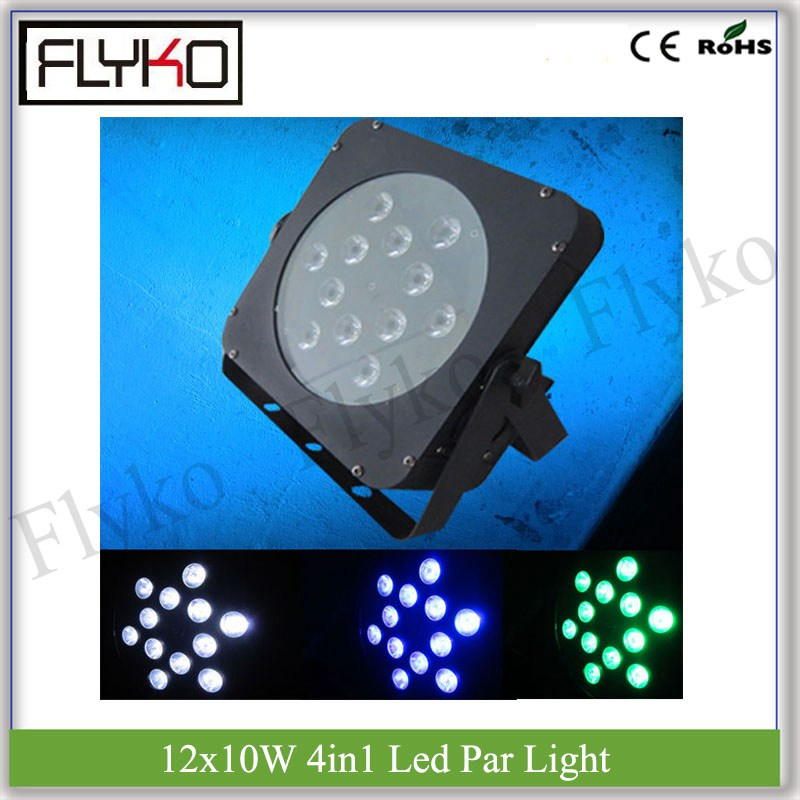 DMX control dj equipment 12x10W RGBW 4in1 LEDs led par can flat par light
