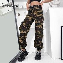Sweetown 2019 新到着 ストリート迷彩カーゴパンツの女性プラスサイズハイウエスト迷彩ポケットカジュアルパンツ秋