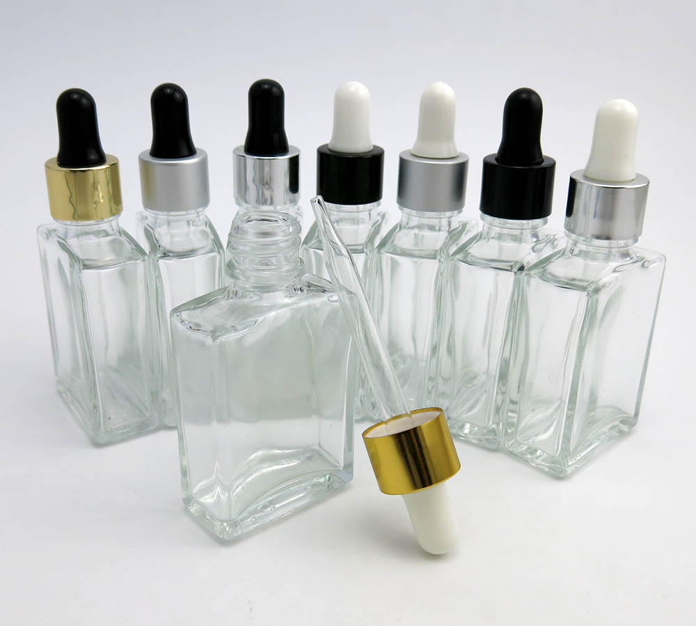 10 X 1OZ Clear Square Glass Dropper Bottle Small 30ML Clear Glass Bottle With Pipette Dropper