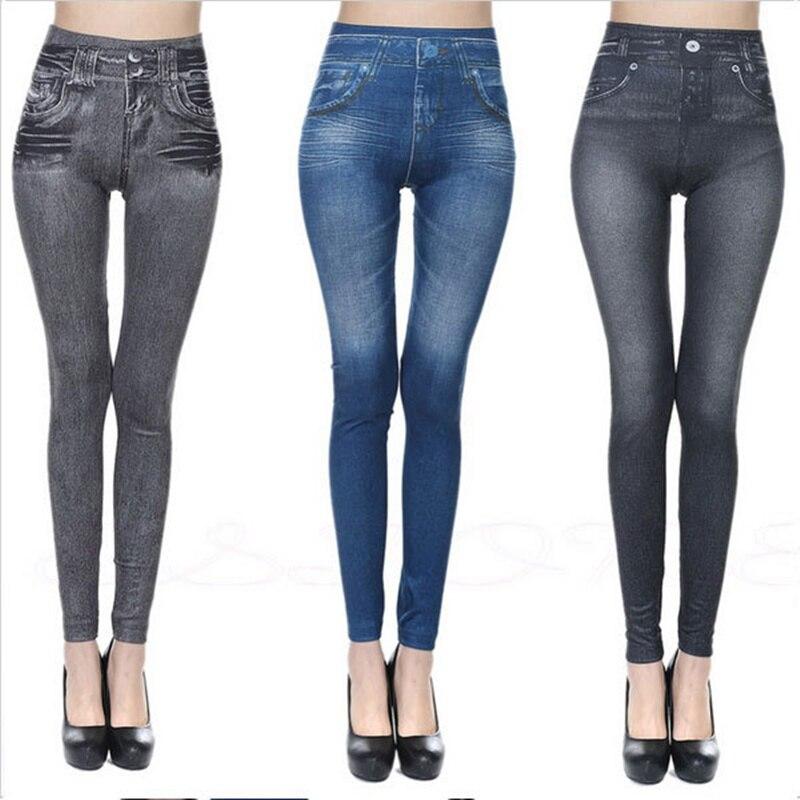 leggings women New Hot Jeans for Women Denim Pants with Pocket Pull Cashmere Body Imitation Cowboy Slim Leggings