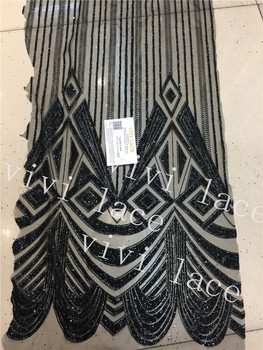 D484  5yards black  glued print glitter net tulle mesh lace fabric for sawing / evening dress/stage