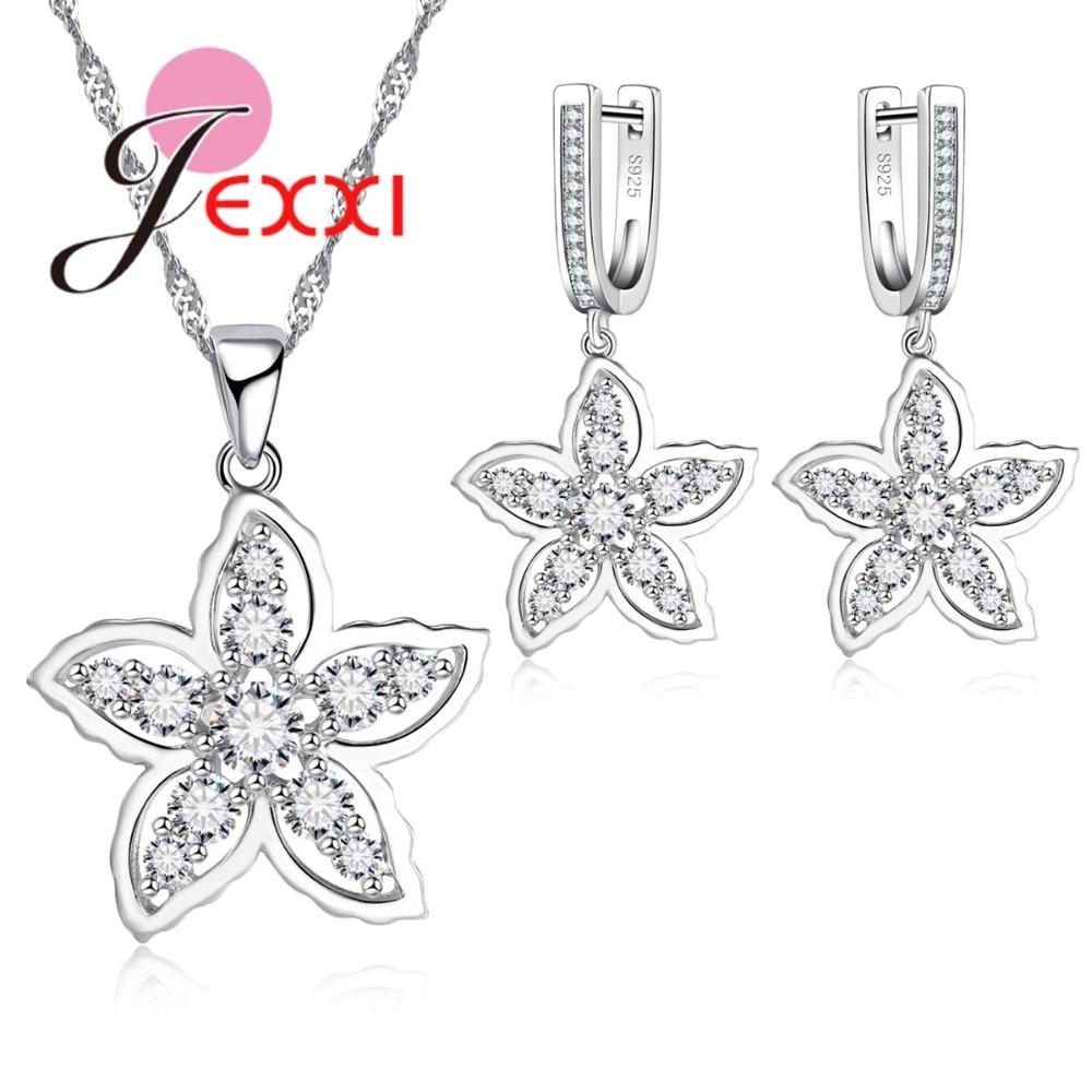 Stříbrné šperky sady pro ženy svatební s kubický zirkon křišťál módní náhrdelník a náušnice sada pro nevěsty