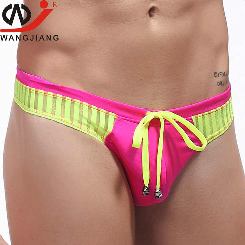 b01872e180d6d ... WJ Sexy Male Thong Swimwear Gay Men Underwear trunks Mens Swimsuit Thong  Strings Brazilian Bikini Swimsuit ...