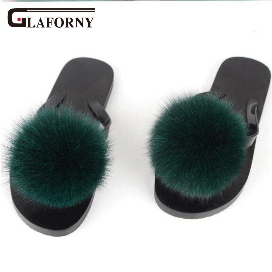 Glaforny Women Flip Flops Real Fox Fur Slippers Fluffy Fur -3504