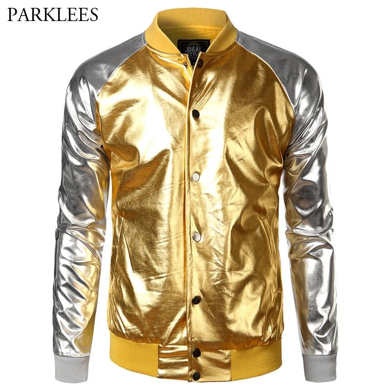 Shiny Metallic Jacket Men 2017 Brand New Night Club Mens Bomber Jackets Hip Hop Hispter Baseball Jacket Casual Casaco Masculino-in Jackets from Men's Clothing    1