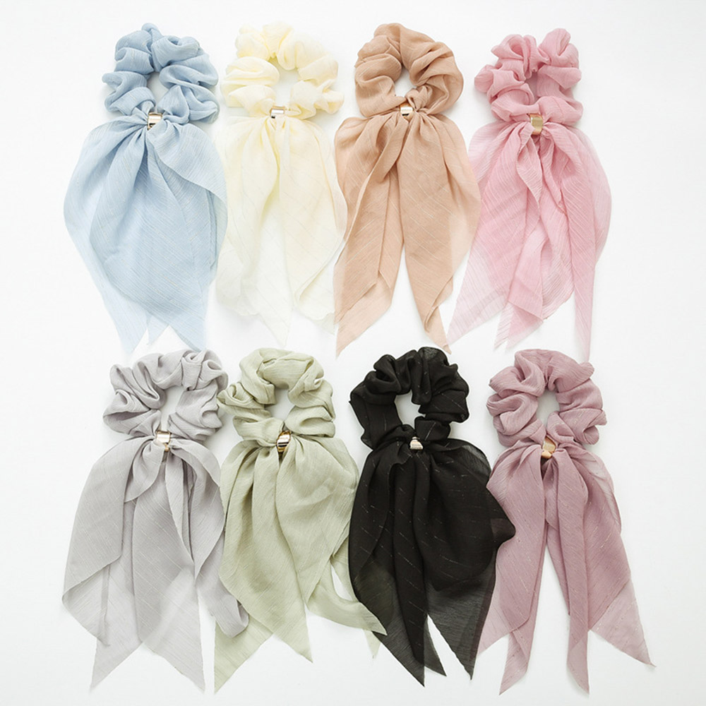2019 Solid Hair Bow Double Deck Streamers Hair Ring Fashion Women Girls Scrunchies Horsetail Tie Headwear Hair Accessories