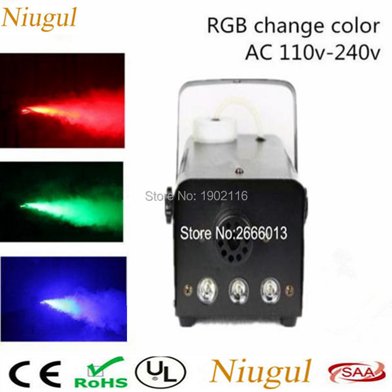 Niugul RGB Remite Control LED 500W Fog Machine Pump DJ Disco Smoke Machine For Party Weedding Stage Fogger Machine DJ Equipments niugul 1500w fog machine smoke machine stage mist effect 110v 240v remote wire control for disco dj party spray up fogger maker